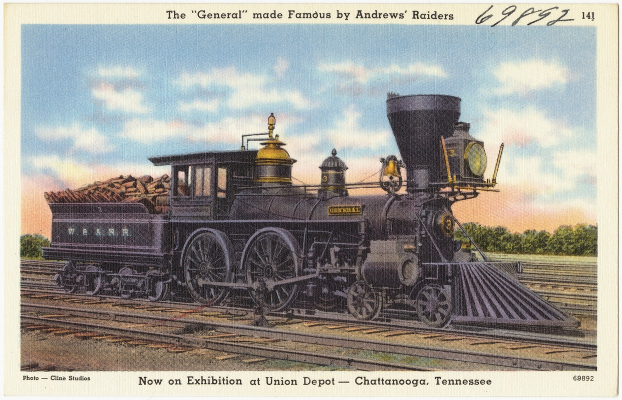 """The """"General"""" made famous by Andrew's Raiders, now on exhibition at Union Depot -- Chattanooga, Tennessee"""