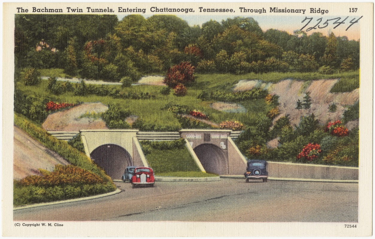 The Bachman Twin Tunnels, entering Chattanooga, Tennessee, through Missionary Bridge