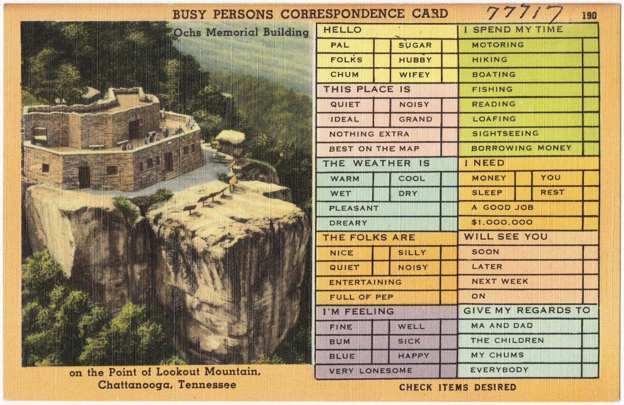 Busy persons correspondence card. Ochs Memorial Building on the point of Lookout Mountain, Chattanooga, Tennessee