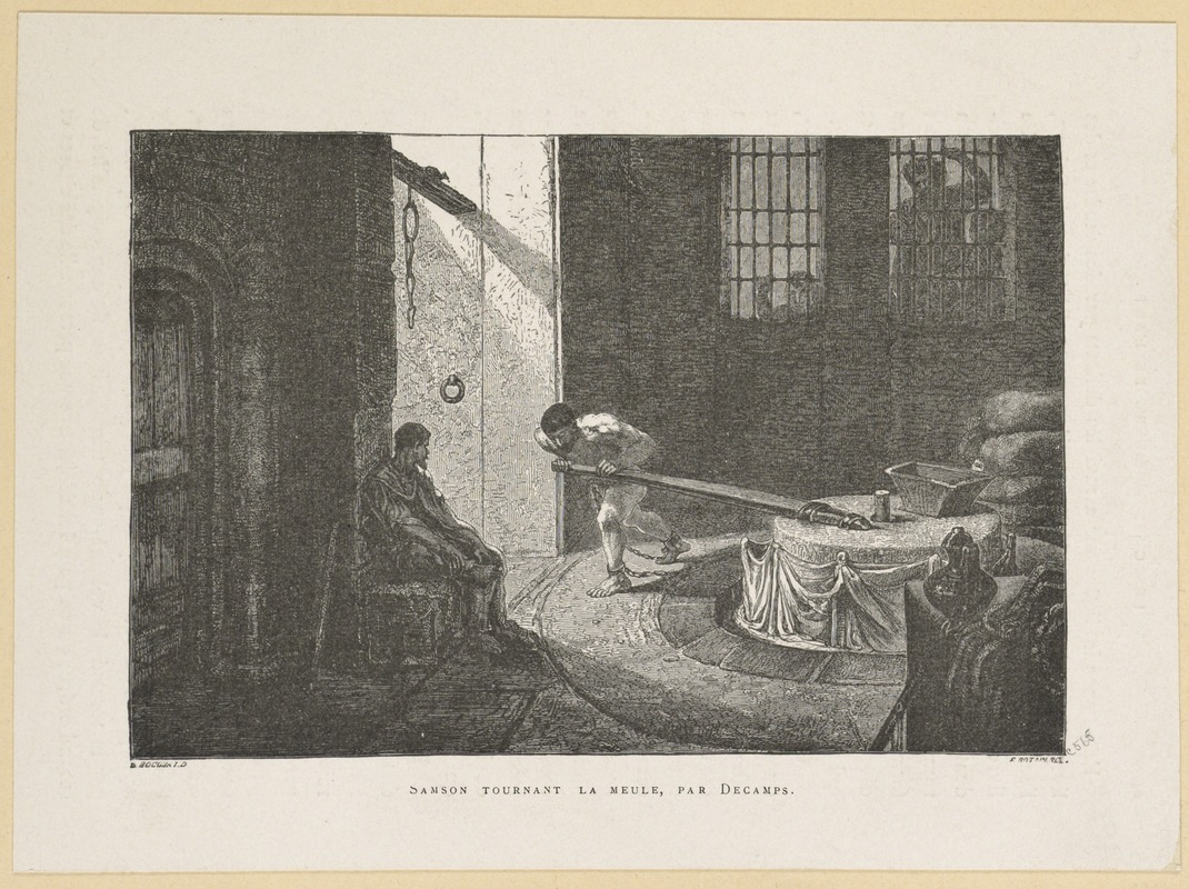Samson grinding grain in chains after being blinded and imprisoned by the Philistines in Gaza.