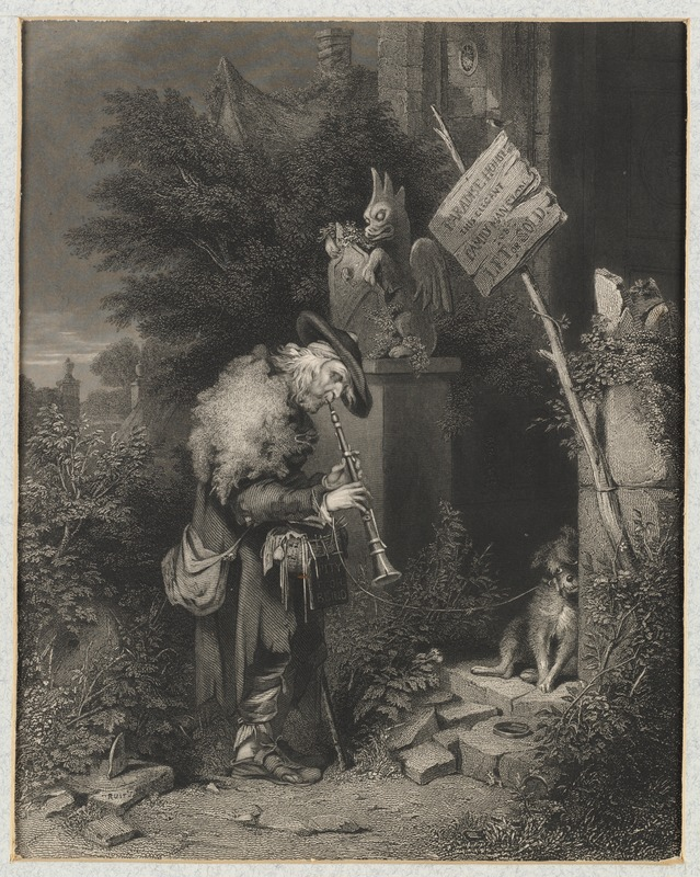 The Abandoned House, With a Blind Man Playing a Pipe