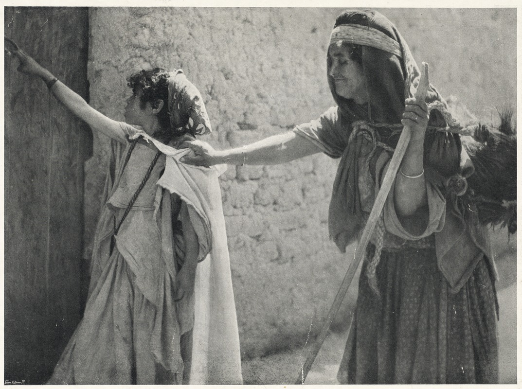 Adult who is blind guided by sighted child, unknown location