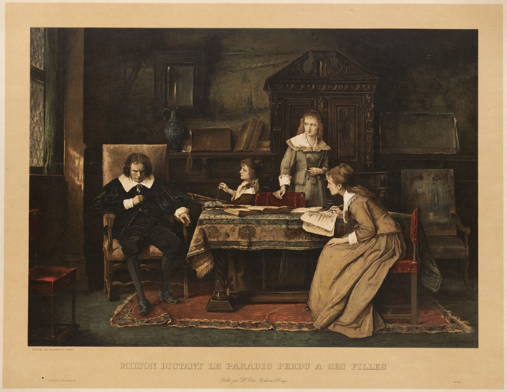 "John Milton dictating ""Paradise Lost"" to his daughters"