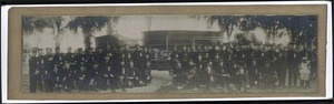 Jamaica Plain, Massachusetts firemen pose with their hand-tub engine, Star of Jamaica