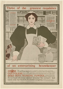 Three of the greatest requisites of an enterprising housekeeper - Copco, Cottolene, Gold Dust washing powder