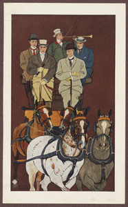 Five men riding in a carriage drawn by four horses