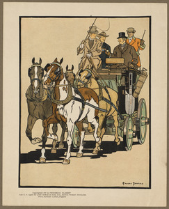 Four men riding on top of a carriage being drawn by four horses