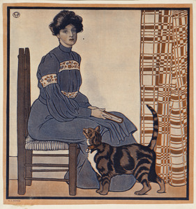 Woman sitting on a chair holding a book with a cat looking on.