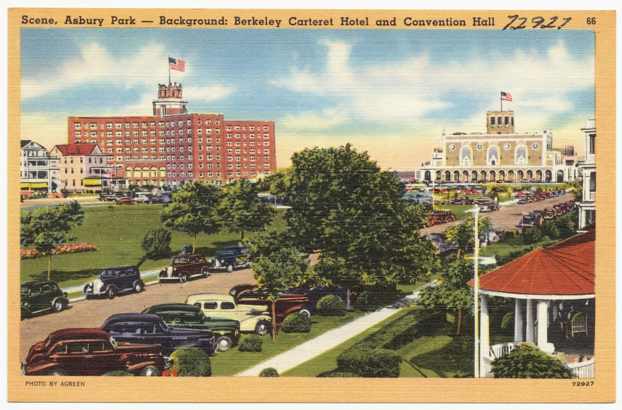 Scene, Asbury Park -- Background: Berkeley Carteret Hotel and convention hall