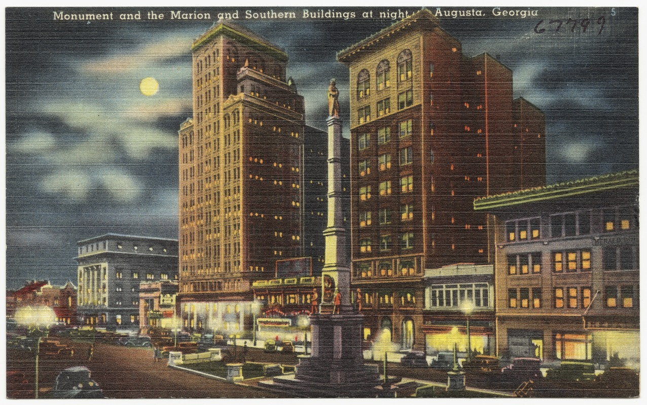 Monument and the Marion and Southern buildings at night, Augusta, Ga.