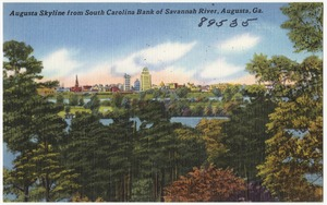 Augusta skyline from South Carolina bank of Savannah River, Augusta, Ga.