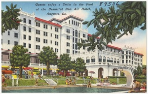 Guests enjoy a swim in the pool of the beautiful Bon Air Hotel, Augusta, Ga.