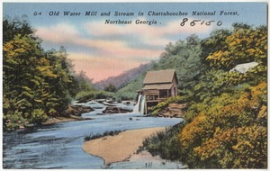 Old water mill and stream  in Chattahoochee National Forest, northeast Georgia
