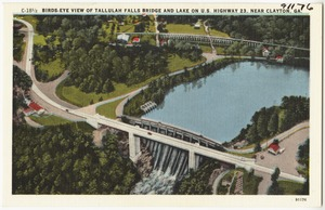 Birds-eye view of Tallulah Falls Bridge and lake on U.S. Highway 23 near Clayton, Ga.