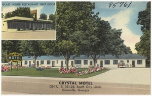 Crystal Motel on U. S. 301-25, south city limits, Glennville, Georgia, Glass House Restaurant next door