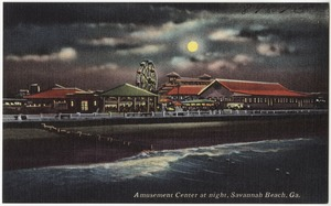 Amusement center at night, Savannah Beach, Ga.
