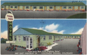 """Tour-rest Motel, """"Rear Units Back from Highway Noise"""", 3007 East Highway 24... Colorado Springs, Colorado"""