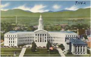 Panorama of the city and county building and portion of the civic center from the capitol dome, Denver, Colorado