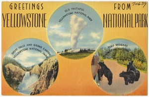 Greetings from Yellowstone National Park -- Old Faithful, Great Falls and Grand Canyon, Road Beggars
