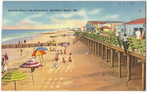 Bathing beach and boardwalk, Rehoboth Beach, Del.