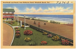Boardwalk and beach from Belhaven Hotel, Rehoboth Beach, Del.