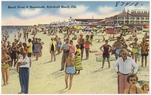 Beach front & boardwalk, Rehoboth Beach, Del.