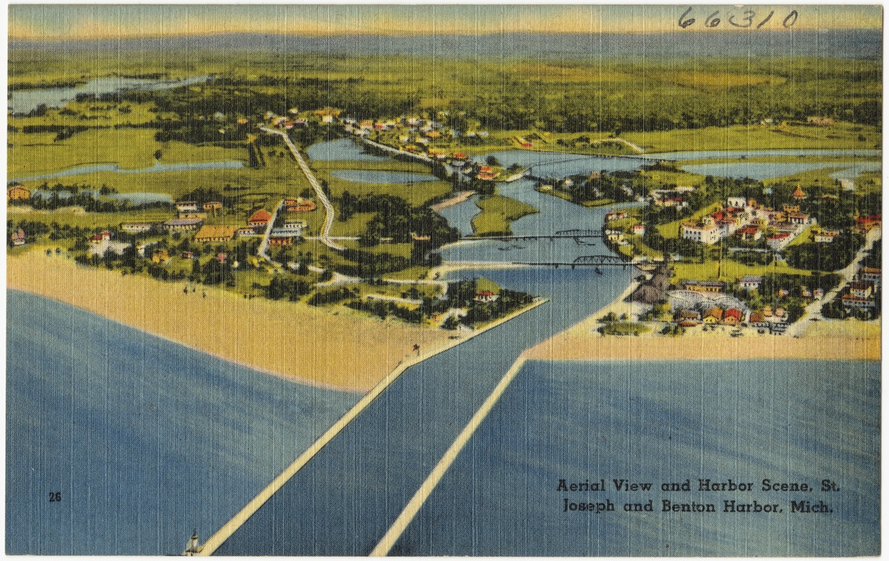 Aerial view and harbor scene, St. Joseph and Benton Harbor, Mich.