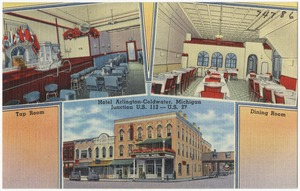 Hotel Arlington - Coldwater, Michigan, Junction U.S. 112 -- U.S. 27, tap room, dining room