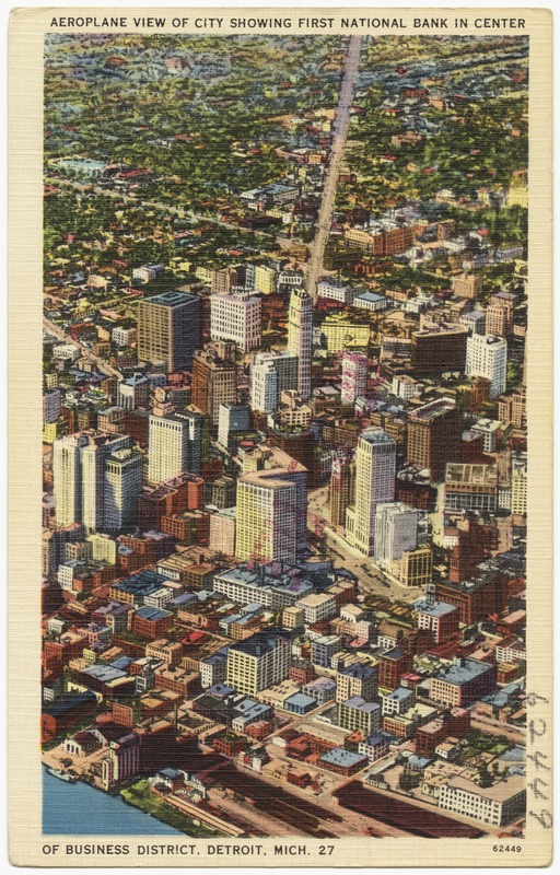 Aeroplane view of city showing First National Bank in center