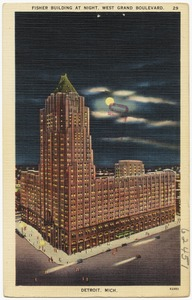 Fisher Building at night, West Grand Boulevard, Detroit, Mich.