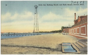 Belle Isle Bathing Beach and Bath House, Detroit, Mich.