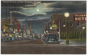 Western Avenue, at night, Muskegon, Michigan