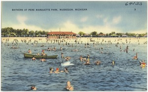 Bathers at Pere Marquette Park, Muskegon, Michigan