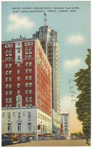 Capitol Avenue, looking south, showing Olds Hotel, Olds Tower and Masonic temple, Lansing, Mich.
