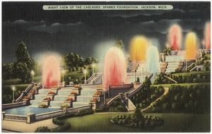 Night view of the Cascades, Sparks Foundation, Jackson, Mich.