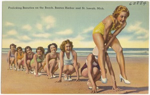 Frolicking beauties on the beach, Benton Harbor and St. Joseph, Mich.