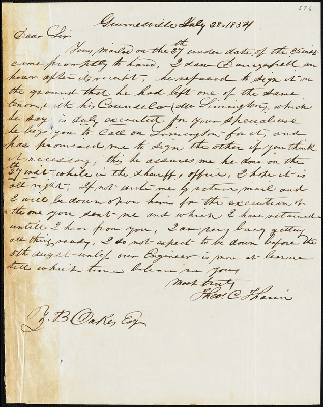 Theodore C. Tharin, Grumesville, S.C., autograph letter signed to Ziba B. Oakes, 28 July 1854