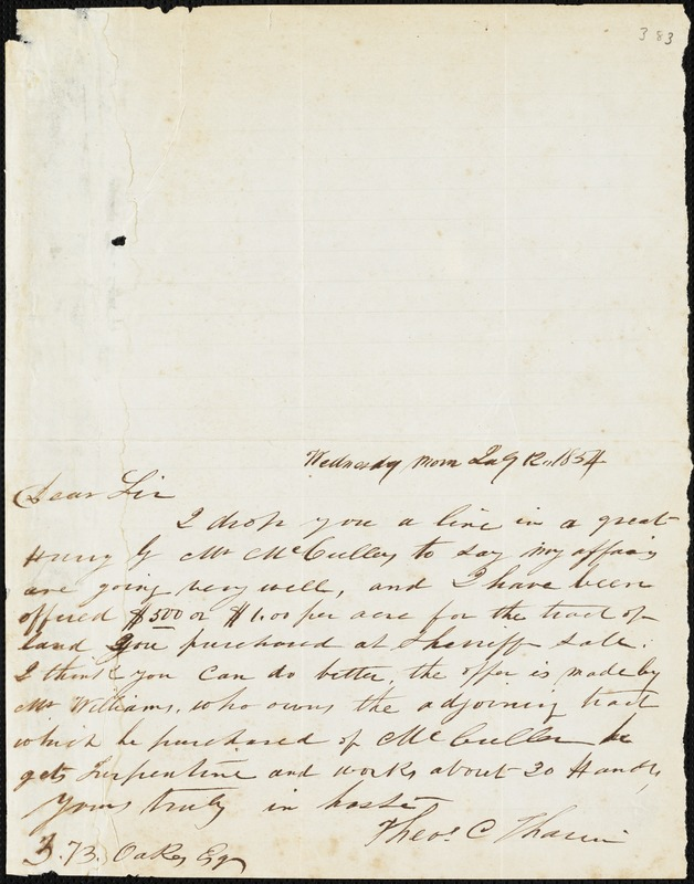 Theodore C. Tharin, Grumesville, S.C. [?], autograph letter signed to Ziba B. Oakes, 12 July 1854