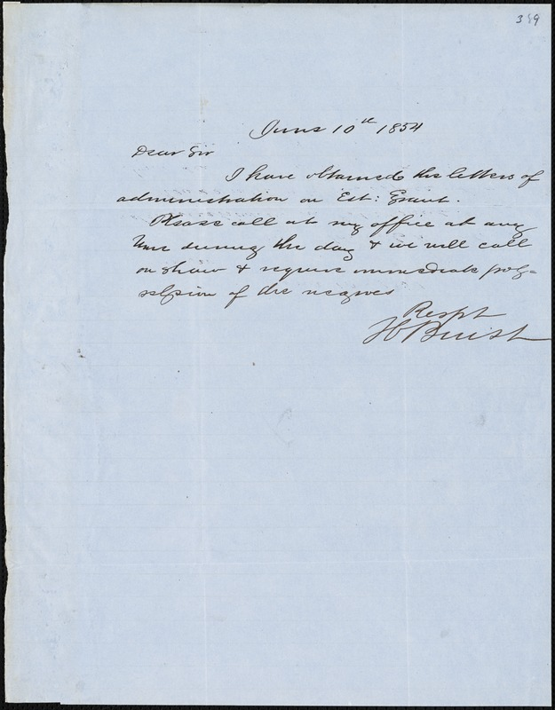 H. Buist, Charleston, S.C.[?], autograph letter signed to [Ziba B. Oakes], 10 June 1854