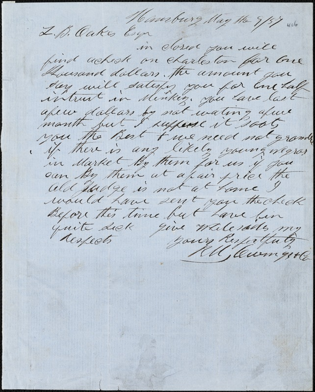 Owings, R.M. & Co., Hamburg, manuscript letter signed to Ziba B. Oakes, 9 May 1857