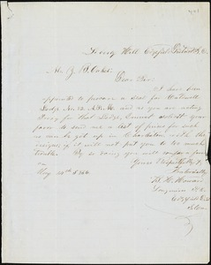 B.H. Howard, Liberty Hill, Edgefield District, S.C., autograph note signed to Ziba B. Oakes, 14 May [1857?]