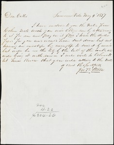 J.R. Stall, Summerville, S.C., autograph note signed to Ziba B. Oakes, 4 May 1857
