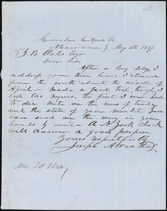 Joseph A. Weatherby, Greensboro, Guildford Co., N.C., autograph note signed to Ziba B. Oakes, 4 May 1857