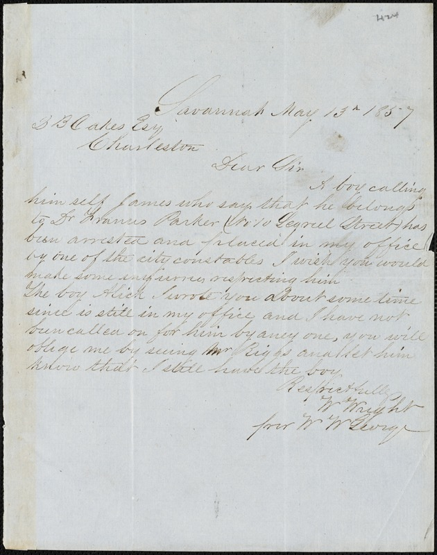 William Wright, Savannah, Ga., manuscript note signed to Ziba B. Oakes, 13 May 1857
