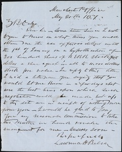 Lawrence H. Belser, Manchester Post Office, autograph letter signed to Ziba B. Oakes, 20 May 1857
