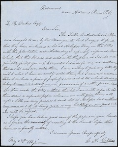 E.A. Gibbes, Rosemont, S.C., autograph note signed to Ziba B. Oakes, 2 May 1857