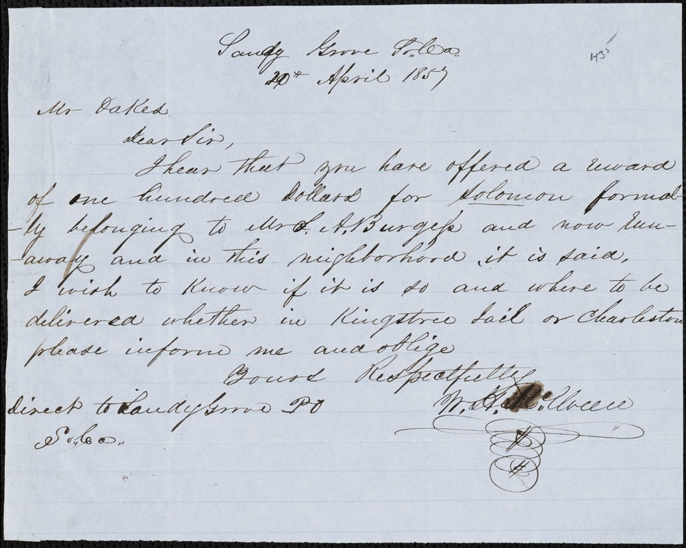 W.H. McElveen, Sandy Grove, N.C., autograph letter signed to Ziba B. Oakes, 20 April 1857