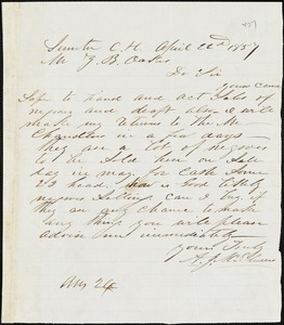 A. J. McElveen, Sumter Court House, S.C., autograph letter signed to Ziba B. Oakes, 22 April 1857