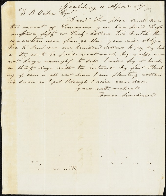 Thomas Limehouse, Goulding, S.C.[?], autograph note signed to Ziba B. Oakes, 10 April 1857
