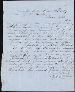 A. J. McElveen, Sumter Court House, S.C., autograph letter signed to Ziba B. Oakes, 18 April 1857